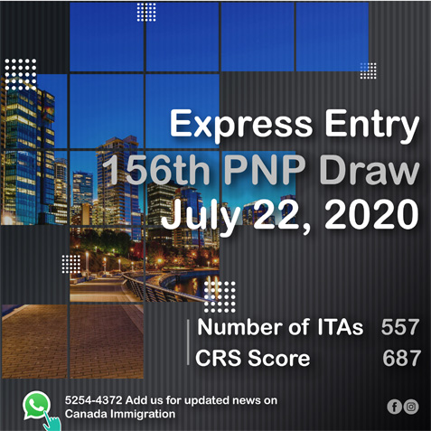 Express Entry 156th PNP Draw_July 22, 2020
